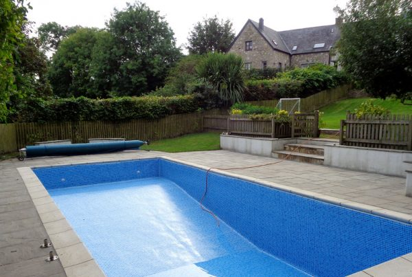 Refurbish existing pool, raise deep end floor