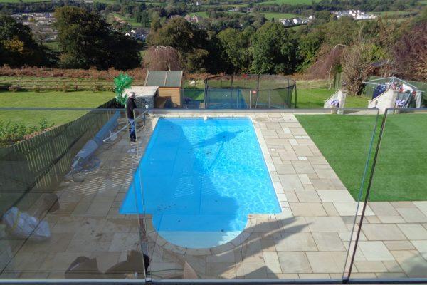 Pool renovation - Crema Europa copings, winter debris cover