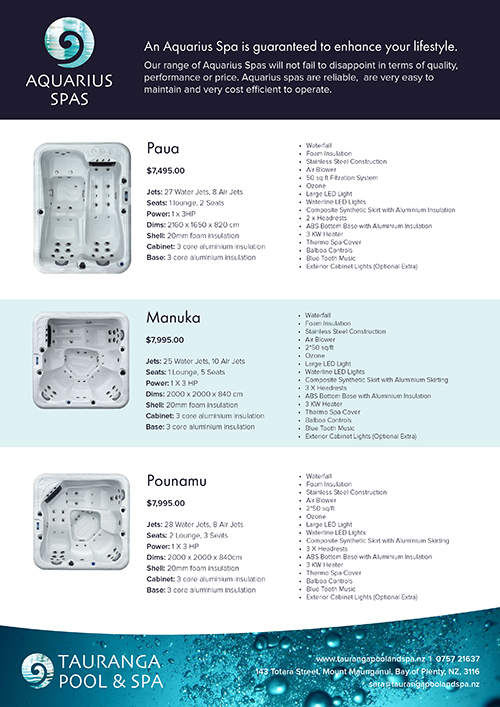 Aquarius Spa Info Sheet